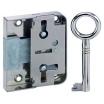 Schloß aufliegend 772  D80 Dreizuhaltungsschließung mit 1 Schlüssel Kasten Stahl vernickelt