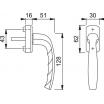 Fenstergriff New York 0810/US10 No. 10, Stift variabel 32-42, Secustik F4 mit je 2 Schrauben